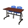 """Kobe 48"""" Flip Top Mobile Training Table- Cherry & 2 'M' Stack Chairs- Blue"""