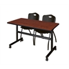 "Kobe 48"" Flip Top Mobile Training Table- Cherry & 2 'M' Stack Chairs- Black"