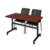 "Kobe 48"" Flip Top Mobile Training Table- Cherry & 2 Mario Stack Chairs- Black"