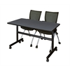 "Kobe 48"" Flip Top Mobile Training Table- Grey & 2 Apprentice Chairs- Black"