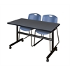 "Kobe 48"" Flip Top Mobile Training Table- Grey & 2 Zeng Stack Chairs- Blue"
