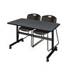 "Kobe 48"" Flip Top Mobile Training Table- Grey & 2 Zeng Stack Chairs- Black"