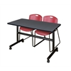 "Kobe 48"" Flip Top Mobile Training Table- Grey & 2 Zeng Stack Chairs- Burgundy"