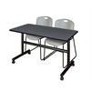 "Kobe 48"" Flip Top Mobile Training Table- Grey & 2 Zeng Stack Chairs- Grey"