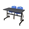 "Kobe 48"" Flip Top Mobile Training Table- Grey & 2 'M' Stack Chairs- Blue"