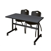 "Kobe 48"" Flip Top Mobile Training Table- Grey & 2 'M' Stack Chairs- Black"