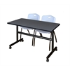 "Kobe 48"" Flip Top Mobile Training Table- Grey & 2 'M' Stack Chairs- Grey"