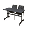 "Kobe 48"" Flip Top Mobile Training Table- Grey & 2 Mario Stack Chairs- Black"