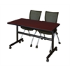 "Kobe 48"" Flip Top Mobile Training Table- Mahogany & 2 Apprentice Chairs- Black"