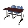 "Kobe 48"" Flip Top Mobile Training Table- Mahogany & 2 Zeng Stack Chairs- Blue"