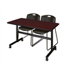 "Kobe 48"" Flip Top Mobile Training Table- Mahogany & 2 Zeng Stack Chairs- Black"