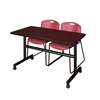 "Kobe 48"" Flip Top Mobile Training Table- Mahogany & 2 Zeng Stack Chairs- Burgundy"