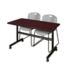 "Kobe 48"" Flip Top Mobile Training Table- Mahogany & 2 Zeng Stack Chairs- Grey"