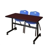 "Kobe 48"" Flip Top Mobile Training Table- Mahogany & 2 'M' Stack Chairs- Blue"
