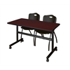 "Kobe 48"" Flip Top Mobile Training Table- Mahogany & 2 'M' Stack Chairs- Black"