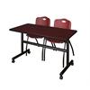 "Kobe 48"" Flip Top Mobile Training Table- Mahogany & 2 'M' Stack Chairs- Burgundy"