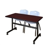"Kobe 48"" Flip Top Mobile Training Table- Mahogany & 2 'M' Stack Chairs- Grey"