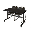 "Kobe 48"" Flip Top Mobile Training Table- Mocha Walnut & 2 Zeng Stack Chairs- Black"