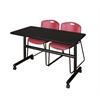 "Kobe 48"" Flip Top Mobile Training Table- Mocha Walnut & 2 Zeng Stack Chairs- Burgundy"