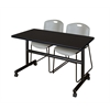 "Kobe 48"" Flip Top Mobile Training Table- Mocha Walnut & 2 Zeng Stack Chairs- Grey"