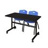 "Kobe 48"" Flip Top Mobile Training Table- Mocha Walnut & 2 'M' Stack Chairs- Blue"