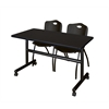 "Kobe 48"" Flip Top Mobile Training Table- Mocha Walnut & 2 'M' Stack Chairs- Black"