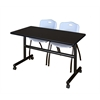 "Kobe 48"" Flip Top Mobile Training Table- Mocha Walnut & 2 'M' Stack Chairs- Grey"