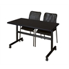 "Kobe 48"" Flip Top Mobile Training Table- Mocha Walnut & 2 Mario Stack Chairs- Black"