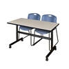 "Kobe 48"" Flip Top Mobile Training Table- Maple & 2 Zeng Stack Chairs- Blue"