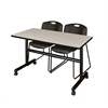 "Kobe 48"" Flip Top Mobile Training Table- Maple & 2 Zeng Stack Chairs- Black"