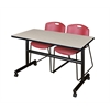 "Kobe 48"" Flip Top Mobile Training Table- Maple & 2 Zeng Stack Chairs- Burgundy"