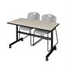 "Kobe 48"" Flip Top Mobile Training Table- Maple & 2 Zeng Stack Chairs- Grey"