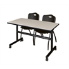 "Kobe 48"" Flip Top Mobile Training Table- Maple & 2 'M' Stack Chairs- Black"