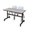 """Kobe 48"""" Flip Top Mobile Training Table- Maple & 2 'M' Stack Chairs- Grey"""