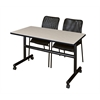"Kobe 48"" Flip Top Mobile Training Table- Maple & 2 Mario Stack Chairs- Black"