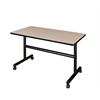 "Kobe 48"" x 30"" Flip Top Mobile Training Table- Beige"