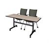 "Kobe 60"" Flip Top Mobile Training Table- Beige & 2 Apprentice Chairs- Black"