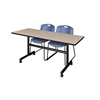 "Kobe 60"" Flip Top Mobile Training Table- Beige & 2 Zeng Stack Chairs- Blue"