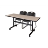"Kobe 60"" Flip Top Mobile Training Table- Beige & 2 Zeng Stack Chairs- Black"