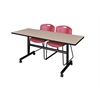 "Kobe 60"" Flip Top Mobile Training Table- Beige & 2 Zeng Stack Chairs- Burgundy"