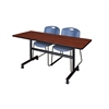 "Kobe 60"" Flip Top Mobile Training Table- Cherry & 2 Zeng Stack Chairs- Blue"