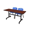 "Kobe 60"" Flip Top Mobile Training Table- Cherry & 2 'M' Stack Chairs- Blue"
