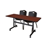"""Kobe 60"""" Flip Top Mobile Training Table- Cherry & 2 'M' Stack Chairs- Black"""