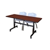 """Kobe 60"""" Flip Top Mobile Training Table- Cherry & 2 'M' Stack Chairs- Grey"""