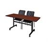 "Kobe 60"" Flip Top Mobile Training Table- Cherry & 2 Mario Stack Chairs- Black"