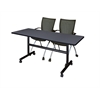 "Kobe 60"" Flip Top Mobile Training Table- Grey & 2 Apprentice Chairs- Black"