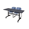 "Kobe 60"" Flip Top Mobile Training Table- Grey & 2 Zeng Stack Chairs- Blue"
