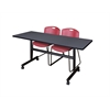 "Kobe 60"" Flip Top Mobile Training Table- Grey & 2 Zeng Stack Chairs- Burgundy"