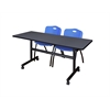 "Kobe 60"" Flip Top Mobile Training Table- Grey & 2 'M' Stack Chairs- Blue"