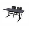 "Kobe 60"" Flip Top Mobile Training Table- Grey & 2 'M' Stack Chairs- Black"